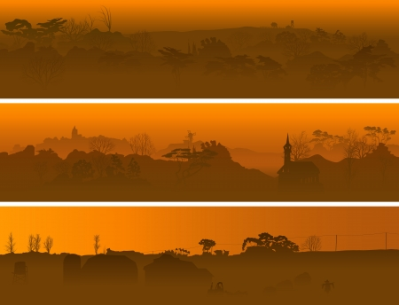 Horizontal banners of valley in the middle of wood in a morning fog. Vector