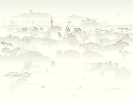 marge: Background of valley with trees and farm in a morning fog. Illustration
