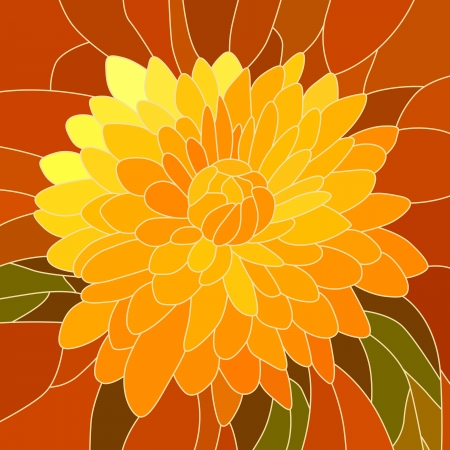 mosaic with large cells of brightly yellow chrysanthemum on red.