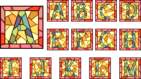 stained: Set of mosaic alphabet capital letters from stained glass windows with frame