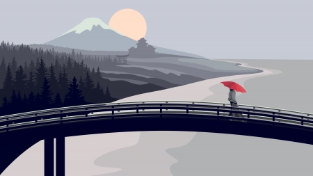 thorium: Illustration of Japanese theme; bridge with woman in kimono with red umbrella on background of mountains and sea.