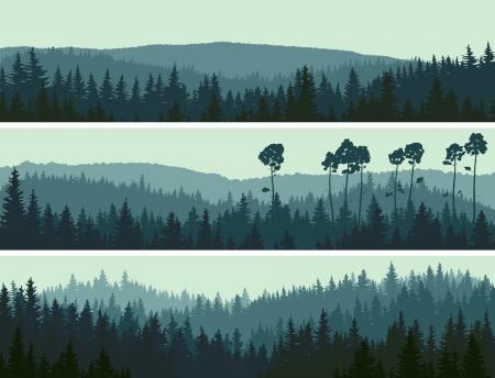Poziome abstrakcyjne transparenty wzgórz drewna iglastego w ciemnych odcieniach zielonych. Ilustracje wektorowe