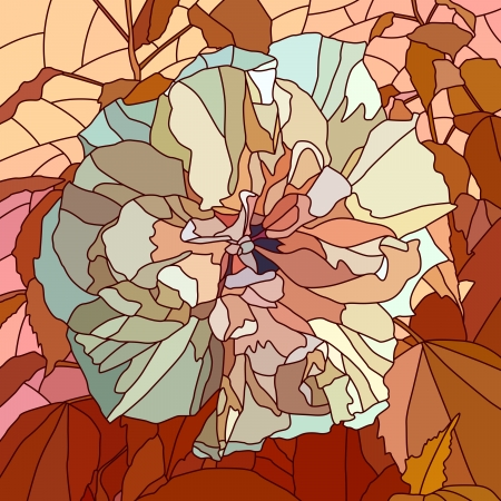 mosaic with large cells of hibiscus (Chinese rose) with leaves on red. Stock Vector - 17282824