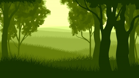 Vector illustration of tree trunks within wood with grass and meadow on edge of forest in green tone. 向量圖像