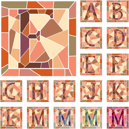Set of mosaic alphabet capital letters in square frame Part 1   Vector
