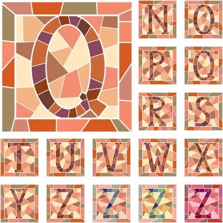 Set of mosaic alphabet capital letters in square frame Part 2   Vector