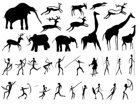 Conjunto de imágenes de personas y animales en la época prehistórica (pintura rupestre).