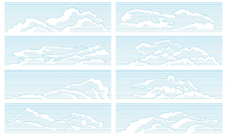 Set of clouds drawn in vintage style by line. Stock Vector - 17330421