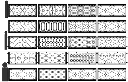Vector set of silhouettes of iron fences. Vector