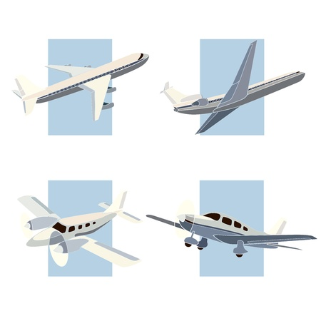 depart: Set of simple icon of plane on background rectangle, pastel colors.
