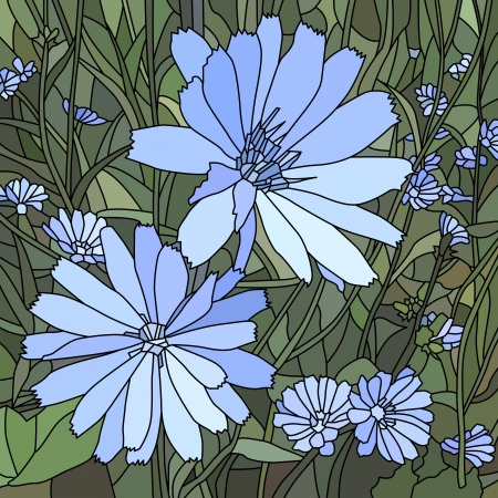 florescence: mosaic with large cells of chicory ( Succory) with flowers on green. Illustration