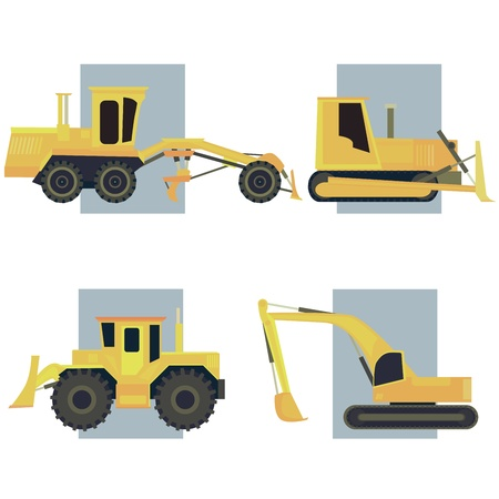 wheel loader: Set of simple icon of tractors, bulldozers, excavators and grader on background rectangle.