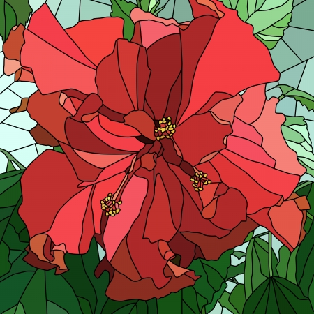 stained glass window: Vector mosaic with large cells of red hibiscus (Chinese rose) with leaves.