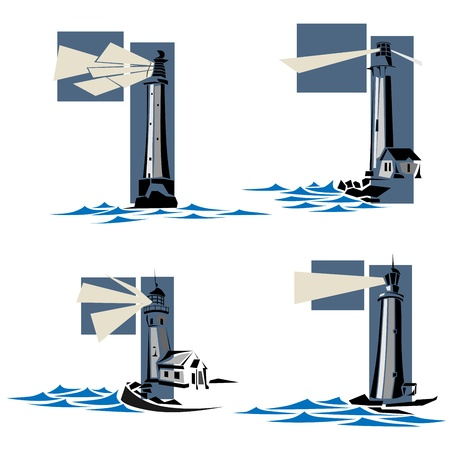 Set of simple vector icons: stylized lighthouse with rays of light and waves. Vector