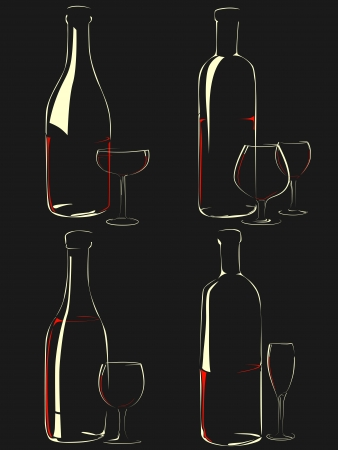 Set of simple vector illustration different glasses and bottle of wine on a black background (in the dark) with shine and reflections(isolated on black). Vector