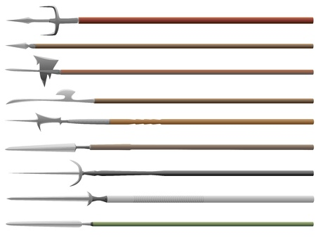 Set of medieval peaks with different spearheads ( vector illustrations).