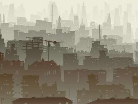 windows home: Vector abstract background of big city with roofs, windows in dusk mist. Illustration