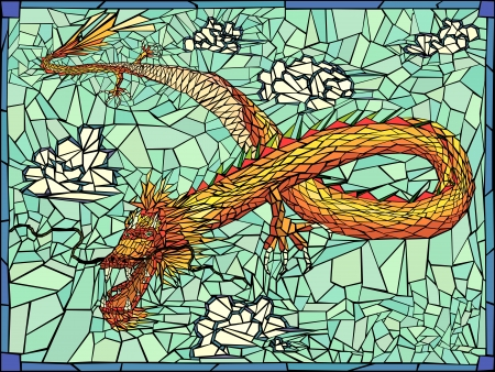 Vector stained glass window of gold dragon with clouds in frame. Vector