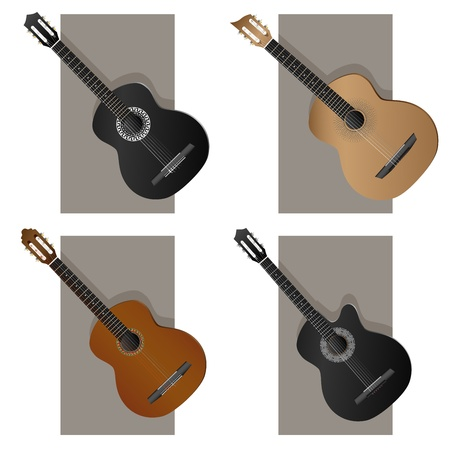 Vector set of sign western, jazz, flamenco, acoustic guitar. Stock Vector - 17530876