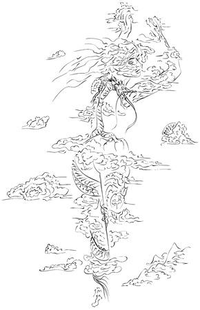 Vector artistic sketch dragon from lines in clouds of womans silhouette. Vector