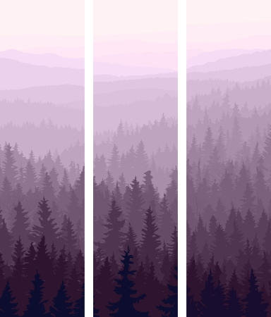 Vertical abstract banners of hills of coniferous wood in dusk.