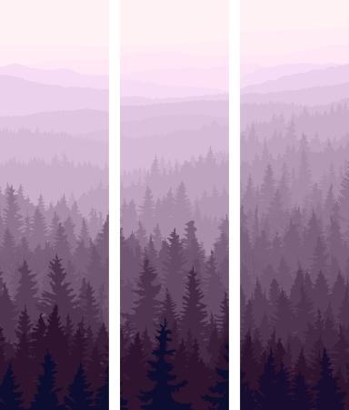 misty forest: Verticales banners abstractos de las colinas de la madera de con�feras en la oscuridad.