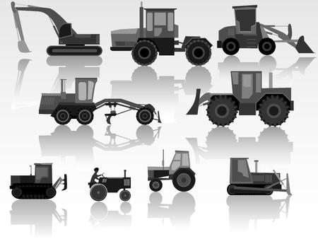 mining truck: Conjunto del icono simple de tractores, bulldozers, excavadoras y motoniveladoras en blanco y negro tono.