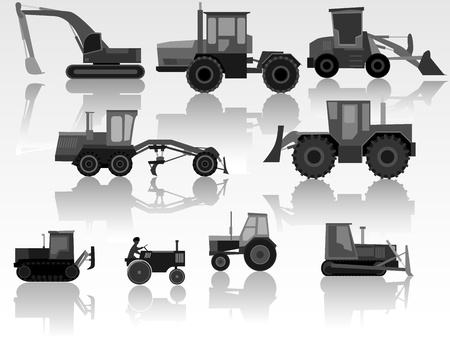 Set of simple icon of tractors, bulldozers, excavators and grader in black-white tone. Vector