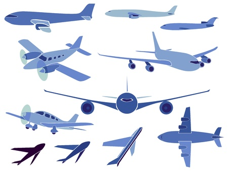 depart: Set of simple symbols of aircrafts.