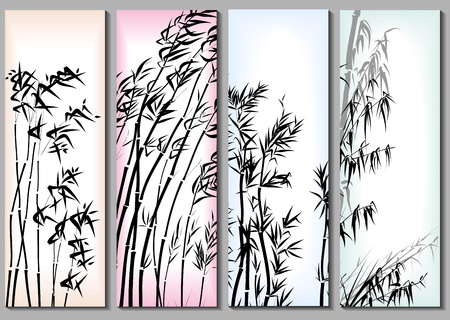 Vertical abstract banners set in asian themes with bamboo in frames.  Vector