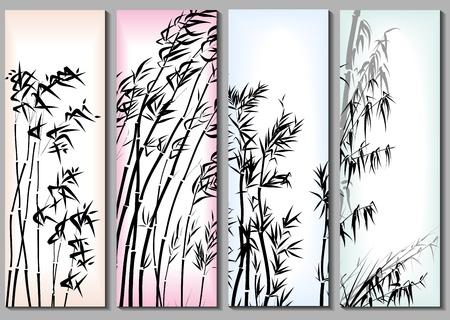 japones bambu: Verticales banners abstractos establecido en temas asiáticos con el bambú en un marco.