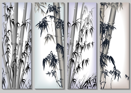 Vertical abstract banners set in asian themes with bamboo in frames.