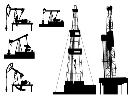 yacimiento petrolero: Siluetas de unidades para la industria del petróleo (bomba de aceite). Vectores