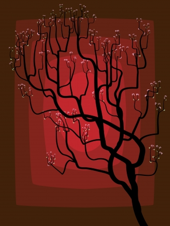 darkly: The abstract drawing of a blossoming tree on darkly red background.