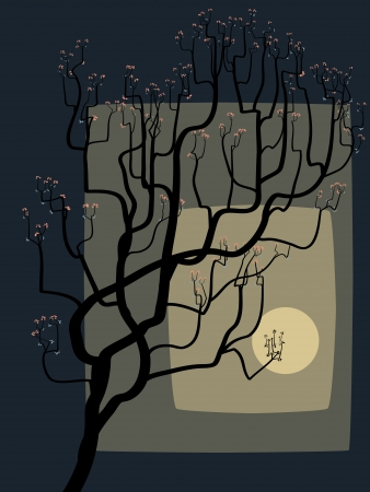 traditionally chinese: The abstract drawing of a blossoming tree against the Moon. Illustration