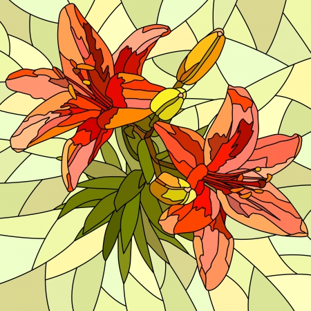 Vector mosaic with large cells of brightly red lilies with buds on yellow. Vector