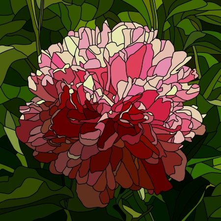 Vector mosaic with large cells of peony with leaves on green. Vector