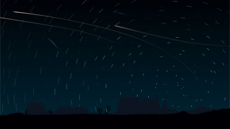 long exposure: Simple vector of stars trace circles on the sky with aircraft lights (look like long exposure photography).