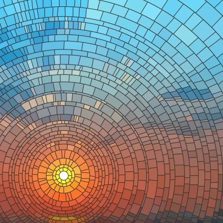 Illustratie van zonsondergang in blauwe hemel in zee, glas in lood raam. Stockfoto - 17665609