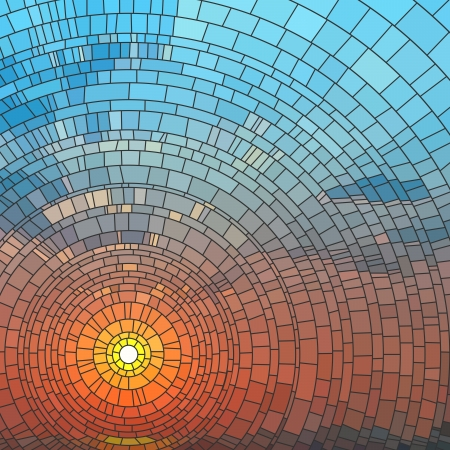 dawn: illustration of sunset in blue sky in sea, stained glass window.