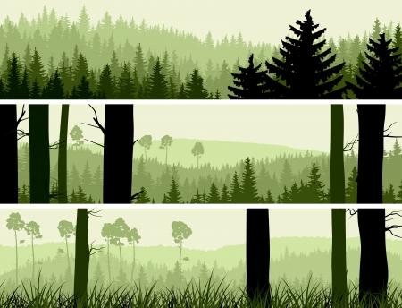 Horizontales bannières abstraites de collines de bois de conifères dans les tons verts.