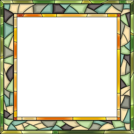 windows frame: square green stained-glass window frame for photography.