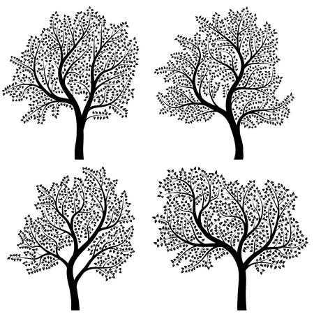 Set of abstract stylized illustration of trees with leaves. Vector