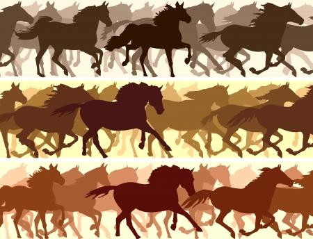pace: Horizontal vector banner: silhouette herd of horses.
