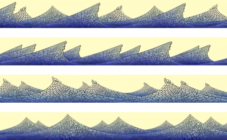 horizontal banner: Abstract vector horizontal banner: blue wave with foam on yellow ( as handmade stained glass window).