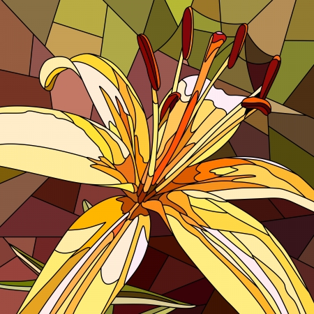 Vector mosaic with large cells of brightly yellow lily on brown. Vector
