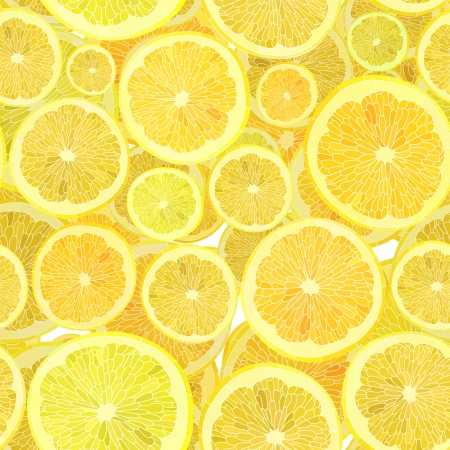Vector seamless background of cut across a lot of citrus fruits. Vector