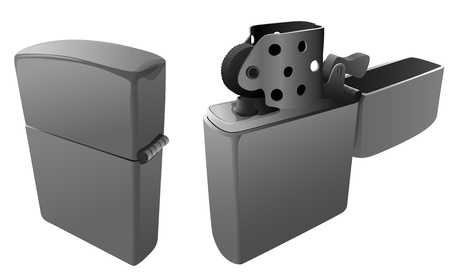 flint: Vector illustration: open and closed petrol lighter, without fire, in grey tone.