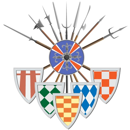 cold steel: Medieval peaks crosswise with different spearheads, shields, coat of arms (vector illustrations).