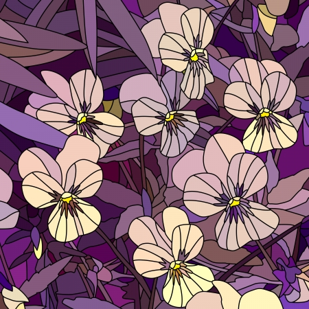 Vector mosaic with large cells of violets (Pansy) on purple. Stock Vector - 17780870